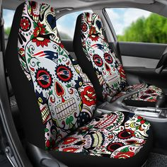 Party Skull New England Patriots Car Seat Covers