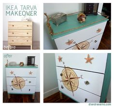 DIY Ikea hack / makeover!  I used a TARVA pine dresser & transformed it into a New England, nautical dream! Knobs: starfish, mermaid, seahorse, turtle, squid. Compass painted on front. Rope wrapped legs & rope detail on top.  Perfect for my nautical apartment!