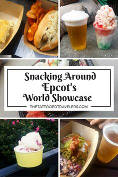 Snacking around EPCOT's World Showcase is a challenge where you partake in at least one entree or dessert plate from each of the 11 represented countries. Voyage Disney World, Disney World Parks, Walt Disney World Vacations, Disney Travel, Disney Worlds, Disney Destinations, Snacks Disney, Disney Food, Disney Stuff