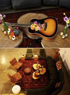 Rock-n-Roll wedding inspiration. Love the idea of using a guitar for a floral centerpiece. #labohemeevents