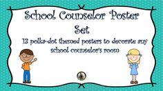 School Counselor Poster Set: 13 polka-dot themed school co