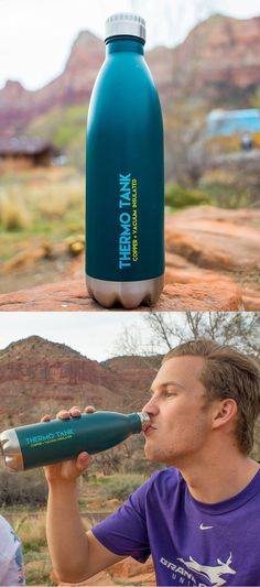 Thermotank - A Double-walled thermos lined with copper that keeps drinks cold for 36 hours. Safety Topics, Everyday Carry Gear, Survival Tips, Inventions, Cool Things To Buy, Prepping, Water Bottle, Copper, Camping
