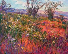 Super Bloom - Erin Hanson Prints - Buy Contemporary Impressionism Fine Art Prints Artist Direct from The Erin Hanson Gallery Erin Hanson, Abstract Landscape, Landscape Paintings, Oil Paintings, Desert Landscape, American Impressionism, Large Painting, Pictures To Paint, Paisajes