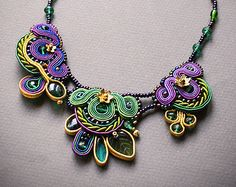 Big #Soutache #Necklace: gold with green and purple sutasz soutage