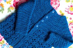 Free Pattern! Picot and Lace Crocheted baby sweater.