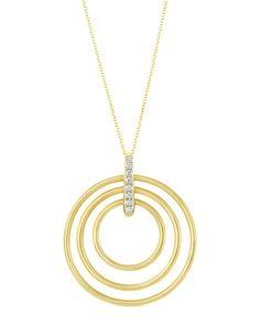 Moderne 18k Diamond Circle Pendant Necklace, yellow - Carelle