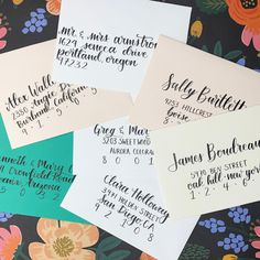 Make a special day more special with hand-lettered, calligraphy envelopes! Calligraphy Envelope, Wedding Calligraphy, Modern Calligraphy, Wedding Envelopes, Wedding Stationary, Wedding Invitations, Brush Lettering, Hand Lettering, Addressing Envelopes