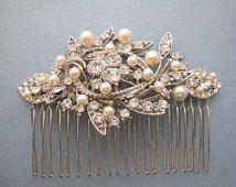 Vintage Style Bridal Hair Comb,Crystal Rhinestone and Pearl Wedding Hair…