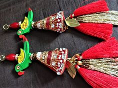 Your place to buy and sell all things handmade Chiffon Saree Party Wear, Rakhi Making, Saree Kuchu Designs, Rakhi Design, Saree Tassels, Embroidered Caps, Art Necklaces, Passementerie, Boho Gypsy