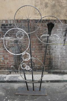 As series of sculptural installations made from bicycle parts to promote the launch of Fred Perry's vintage cycling range in Laurel Wreath stores Europe wide.
