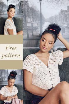 Crochet Shirt, Crochet Crop Top, Crochet Poncho, Easy Crochet, Crochet Bikini, Crochet Basket Pattern, Crochet Patterns, Knitting Club, Mode Crochet