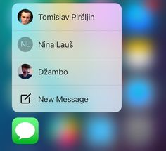 Eleven 3D Touch shortcuts in Messages for iPhone