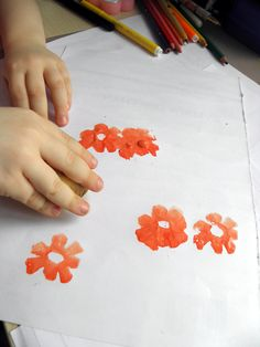 Stamps from potato - spring flowers for kids