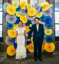 easy diy backdrop - this would be cool but with paper flowers instead