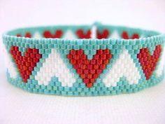 Mixed Hearts Peyote Bracelet Pattern pattern on Craftsy.com