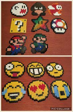 hama beads patterns ideas, emoji mario luigi mushroom star