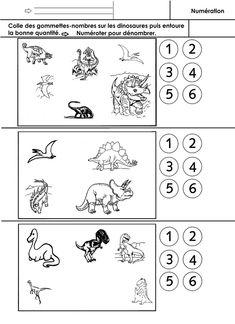 Numéroter pour dénombrer. Les élèves disposent de gommettes rondes sur lesquelles sont écrits les nombres. Ils posent ces gommettes sur les dessins de dinosaures et entourent la bonne quantité parmi les 6 proposées.  - numéroteMS.docx  - numéroteMS.p...