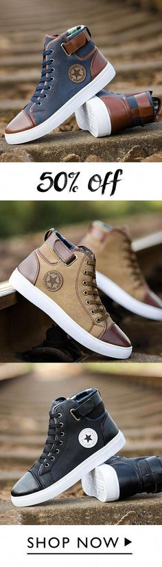 f953ca4474ce Fashion High Mens Patchwork Canvas Shoes  CasaContenedor