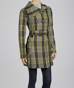 Take a look at this Charcoal & Yellow Plaid Peacoat by Yoki on #zulily today!