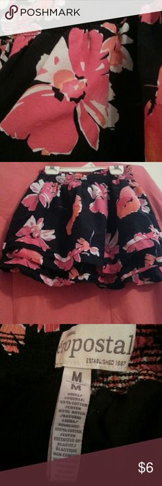 Skirt Navy blue and hot pink flowers skirt, runs small, fits like s xs, used a few times, no issues with the skirt Aeropostale Skirts Mini