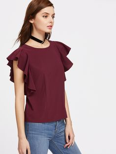 f6198d52839 SheIn offers Flutter Cap Sleeve Top   more to fit your fashionable needs.