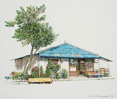 Moment poésie: une artiste coréenne illustre sa jeunesse à l'encre acrylique en dessinant les plus jolies façades des boutiques locales qu'elle prenait plaisir à fréquenter