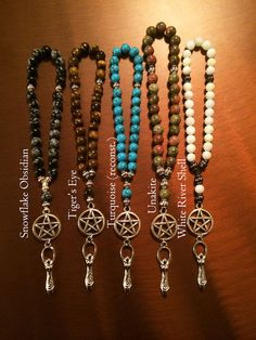 Magickal Ritual Sacred Tools: Pocket Meditation #Mala, Goddess Collection, Pagan #Prayer #Beads, by Ailuros Design.