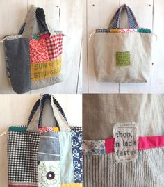 I love these patchwork bags Pochette Diy, Diy Bags Purses, Craft Bags, Linen Bag, Patchwork Bags, Market Bag, Cute Bags, Handmade Bags, Bag Making