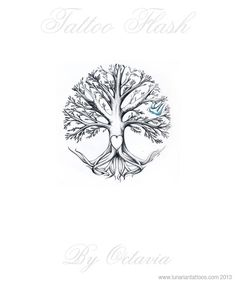 Family Tree Tattoo Flash Tree Tattoo Flash by OctaviaTattoo These roots but curved outwards more
