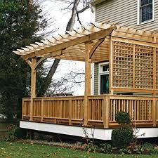 Patio pergola with fencing. Love the tall pergola and the fence is a fun idea, to separate the space from the yard. Attached Pergola, Deck With Pergola, Wooden Pergola, Pergola Patio, Pergola Ideas, Covered Pergola, Deck Covered, Pergola Screens, Rustic Pergola