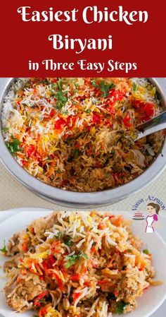 Have you even wondered how to make Chicken Biryani? This simple, easy and effortless recipes will probably make the easiest Indian Chicken Biryani recipe using boneless chicken and easy to find spices that you can relate to. This post simplifies the proce Chicken Byriani Recipe, Easy Chicken Biryani Recipe, Biryani Chicken, Chicken Biryani Recipe Pakistani, Indian Chicken Fried Rice Recipe, Chicken Curry With Rice, Indian Chicken Curry, Indian Curry, Curry Recipes