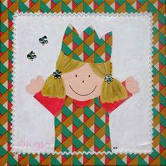 Meisje Caro geschilderd op stof van ontwerper Emerald www.julijn.nl