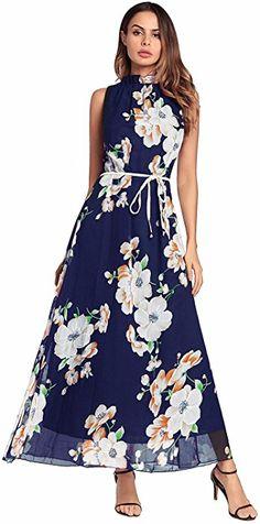 1da883da465 Women s Floral Print Graceful Chiffon Prom Dress for Women
