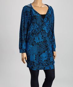 Blue Ruched Long-Sleeve Tunic - Plus by GLAM #zulily #zulilyfinds