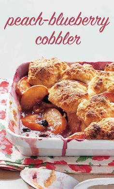 Peach-Blueberry Cobbler | Martha Stewart Living - Fresh peaches and blueberries are baked beneath a fluffy layer of vanilla-cream biscuits. The tops are brushed with heavy cream and sprinkled with sanding sugar for a crispy-sweet crunch.