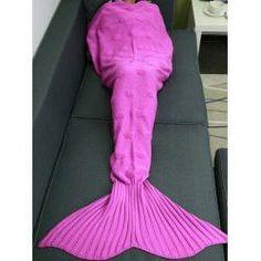 Yarn Knitted Sleeping Bag Bed Sofa Wrap Mermaid Blanket