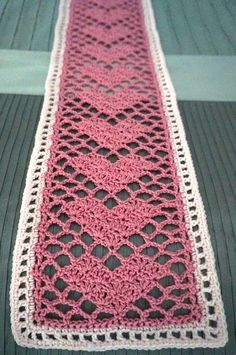 Crochet Lace Crochet Sweetheart Lace Scarf Free Pattern - It's awesome to use sweetheart lace scarf to wrap up yourself and your partner. Here are some Lovely Lace Scarf Free Patterns for you to get started. Filet Crochet, Crochet Lace Scarf, Crochet Scarves, Crochet Doilies, Crochet Hearts, Crochet Edgings, Blanket Crochet, Crochet Afghans, Crochet Owls
