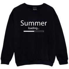 Summer Loading Sweater Jumper Funny Fun Tumblr Hipster Swag Grunge... ($22) ❤ liked on Polyvore featuring tops, black, sweatshirts, women's clothing, black top, goth top, summer tops, pastel tops and star print top
