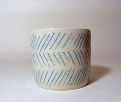 Geometric Minimal Diagonal Blue Lined Ceramic by smallspells
