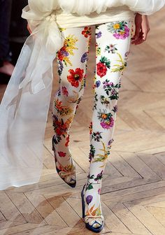 Floral on white tights
