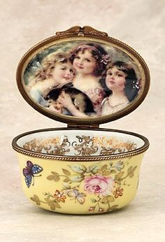Vintage Limoges Box- three sisters with rabbit
