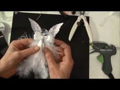 Video tutorial Hi everyone. In this video i will show how to make a feather angel. Using Tim Holtz Layered Angel Wings die. Christmas Angel Ornaments, Christmas Crafts, Cork Ornaments, Christmas Trees, Angel Crafts, Holiday Crafts, July Crafts, Diy Angels, Feather Crafts