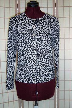 Old Navy Sz L Black & White Dalmation Print Knit Cardigan Sweater #OldNavy #Cardigan