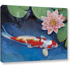 Michael Creese Koi and Water Lily Gallery-wrapped Canvas Art, Size: 24 x 32, Green