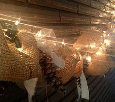 lighted burlap garland | Wedding Decoration's / Burlap garland with lights. DIY! It took me ...