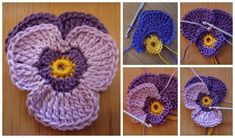 DIY Crochet Violet Flower Free Pattern Detailed Tutorial, English Pattern available, crochet pansy flower for fashion, accessory and home. Crochet Small Flower, Crochet Flower Squares, Knitted Flowers, Crochet Flower Patterns, Crochet For Boys, Diy Crochet, Crochet Crafts, Crochet Projects, Crochet Ideas