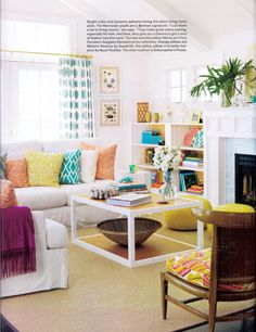 Love the assorted pillow colors/patterns-Beach house living room in HB September 2011