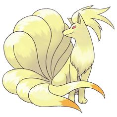 Ninetales - 038 - It has nine long tales and fur that gleams gold. It is said to live for 1,000 years. Very smart and very vengeful. Grabbing one of its many tails could result in a 1,000-year curse.  @PokeMasters