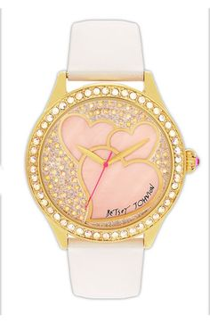 Betsey Johnson Heart Dial Leather Strap Watch Cute !!