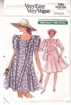 Vogue Dress Very Loose Fit Pullover Sewing Pattern 7231 Sizes 20-24 Very Easy #Vogue #veryloosedress